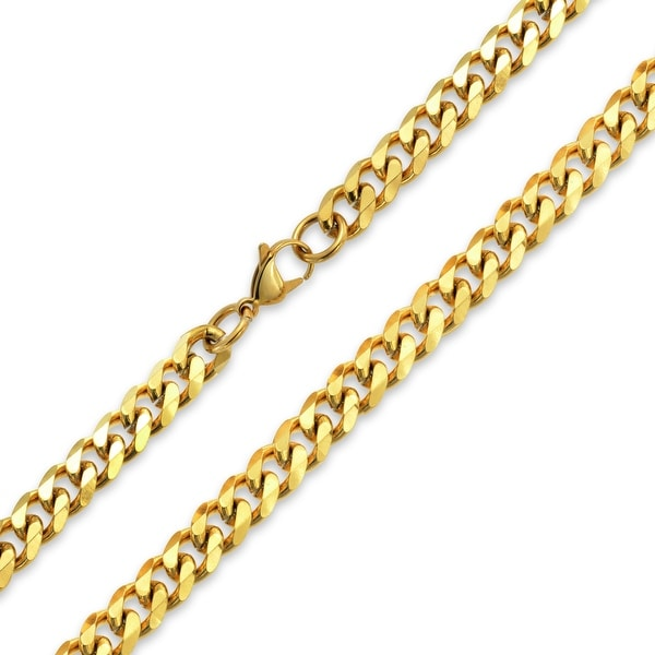 Shop Mens Strong 10mm Gold Tone Stainless Steel Miami Curb