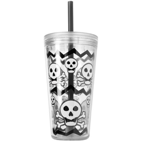 Copco Minimus Tumbler with Straw, 24-Ounce, Skull Gray