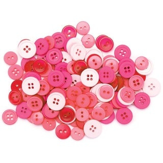 Favorite Findings Buttons 130/Pkg-Pink - Pink