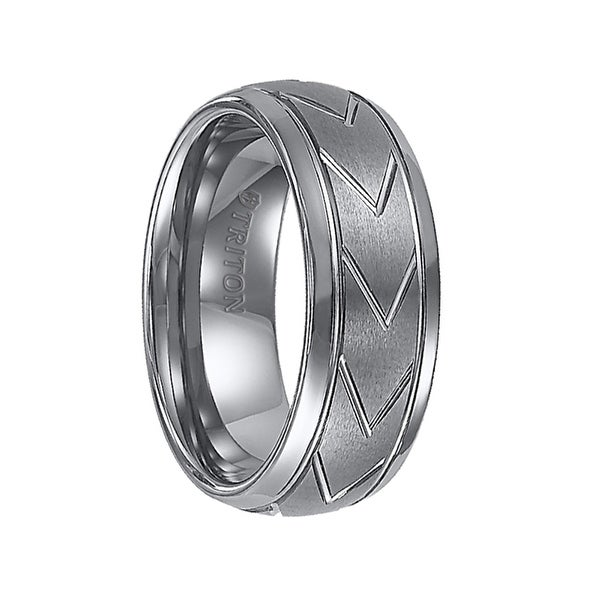 JARVIS Domed Tungsten Carbide Comfort Fit Band with Brush Finished Center and Chevron Pattern Cuts by Triton Rings - 8 mm