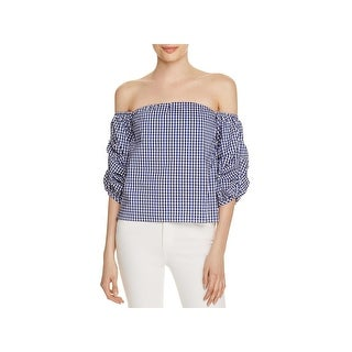Lucy Paris Womens Savannah Blouse Gingham Off-The-Shoulder Blue L