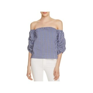 Lucy Paris Womens Savannah Blouse Gingham Off-The-Shoulder Blue XS