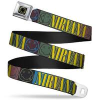 Nirvana Smiley Face Full Color Black Yellow Nirvana Smiley Face Blocks Seatbelt Belt