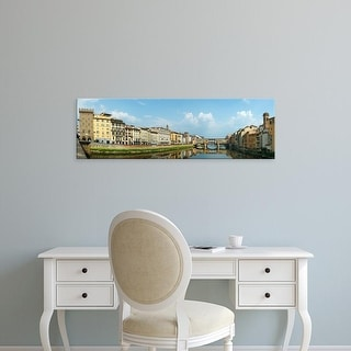 Easy Art Prints Panoramic Image 'Ponto Vecchio, Ponte Santa Trinita Bridge, Florence, Tuscany, Italy' Canvas Art