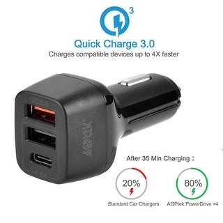 AGPtek Quick Charge 3.0 & USB Type-C 3-Port USB Car Charger Power Drive+ 3 for Galaxy iPhone iPad Android