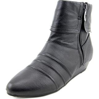 Chinese Laundry Tehya Women Open Toe Leather Black Wedge Heel