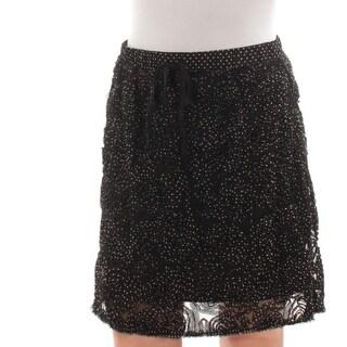 STUDIO M Womens New 1605 Black Polka Dot Textured A-Line Skirt XS B+B