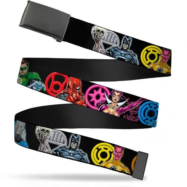 "Blank Black 1.25"" Buckle Green Lantern The Blackest Night Heroes & Villains Web Belt 1.25"" Wide - M"