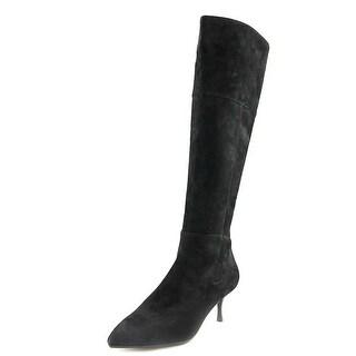 Nina Filomene Women Pointed Toe Suede Black Over the Knee Boot