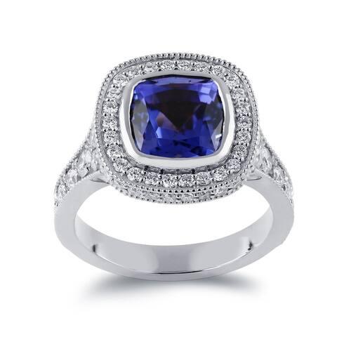Auriya 14k Gold 3 1/2ct Vintage Cushion-cut Tanzanite Halo Diamond Engagement Ring 1 3/8ctw