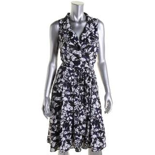 Anne Klein Womens Floral Print Surplice Wear to Work Dress - 12