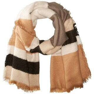 Collection 18 NEW Beige Women's Brushed Colorblock Fringe Wrap Scarf