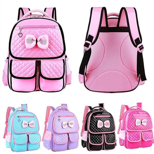 61e22e1cb4 Kid Girls Princess Backpack Cute Bowknot Faux Leather Book Storage School  Bag
