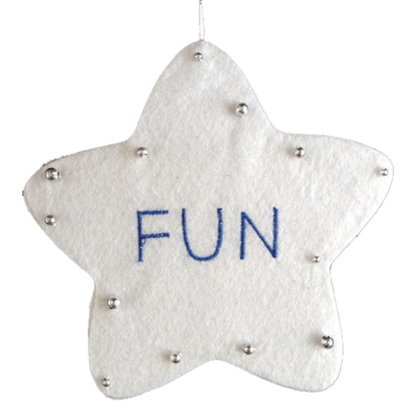 "5"" White Word Star ""Fun"" Christmas Ornament"