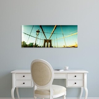 Easy Art Prints Panoramic Image 'Suspension bridge with a city, Brooklyn Bridge, Manhattan, New York City' Canvas Art