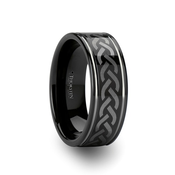 THORSTEN - KILMORE Black Tungsten Carbide Ring with Celtic Pattern