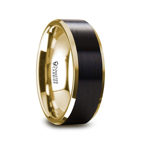 THORSTEN - GASTON Gold Plated Tungsten Polished Beveled Ring with Brushed Black Center