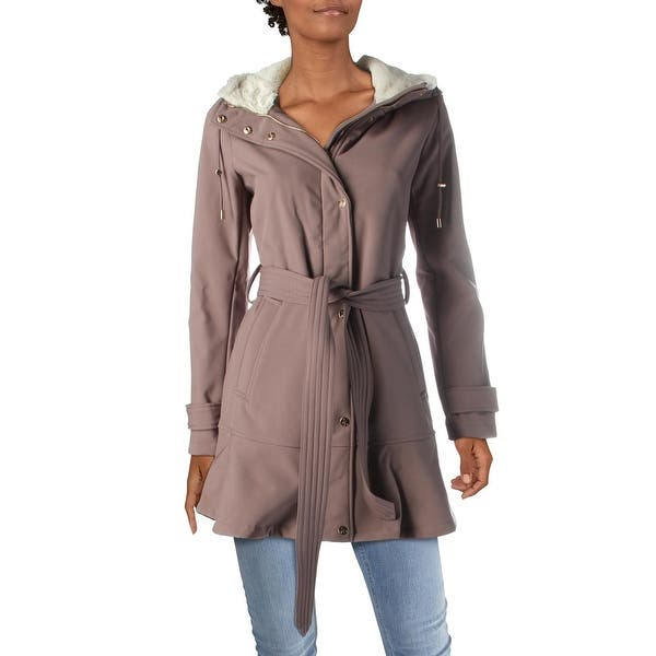 Jessica Simpson Womens Soft Shell Hooded Jacket with Faux Fur Collar
