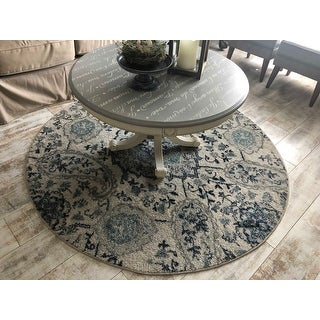 Safavieh Madison Belle Paisley Boho Glam Cream/ Light Grey Rug - 5' xRound