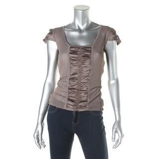 Nanette Lepore Womens Linen Blend Panel Pullover Top - S