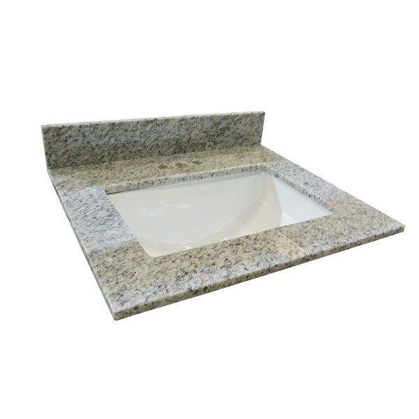 "Design House 563346 37"" Granite Vanity Top with Backsplash and Undermount Ceramic Sink - Kashmir White"