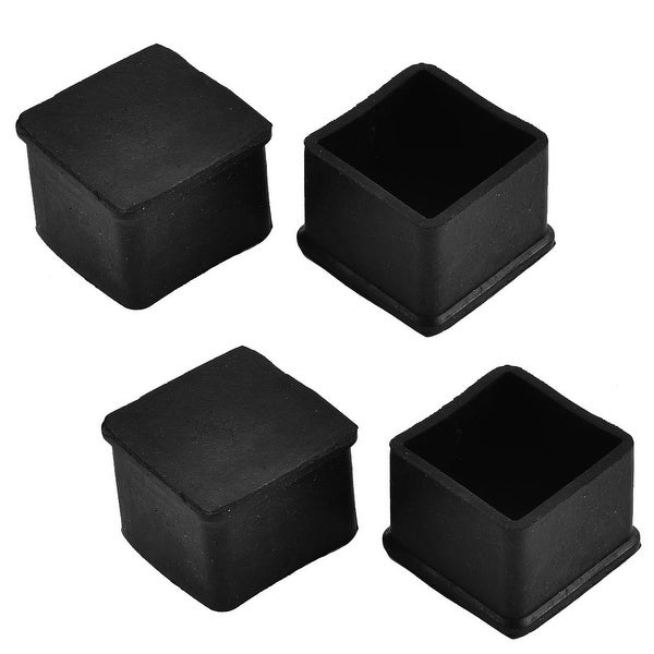 38mm x 38mm Square Shaped Furniture Desk Foot Leg Rubber Cap Cover Black 4pcs