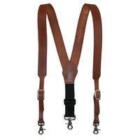 3 D Belt Company Men's Leather Weathered Suspender with Metal Swivel Hook Ends - One size
