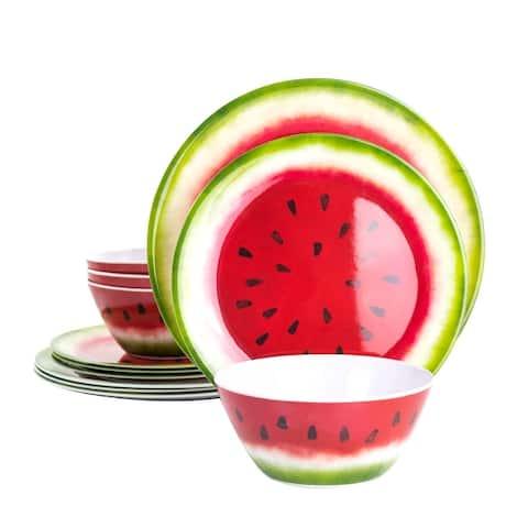 Gibson Home Melony 12 Piece Round Melamine Dinnerware Set