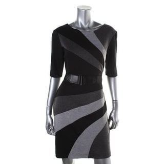 Connected Apparel Womens Petites Colorblock Elbow Sleeves Wear to Work Dress