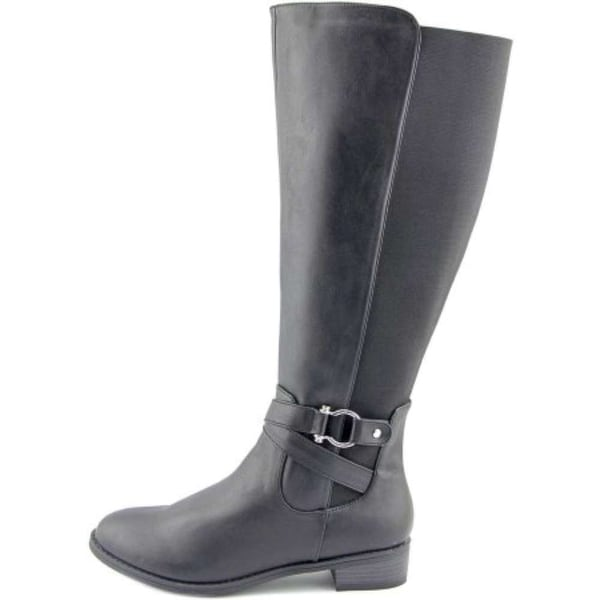 Karen Scott Womens Davina Leather Round Toe Wide Calf Knee High Fashion Boots...