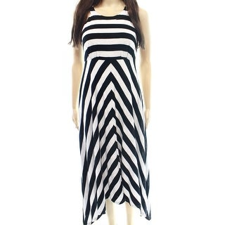INC NEW Black Women's Size XS Striped Handkerchief Hem Maxi Dress