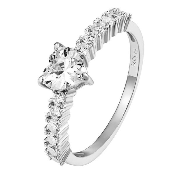 Womens Solitaire Heart Cut Ring Wedding Engagement Sterling Silver Promise