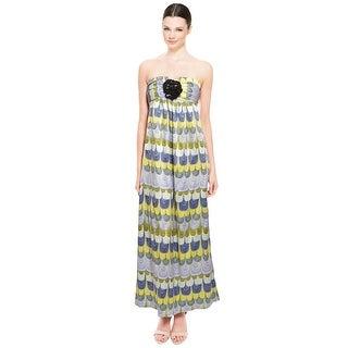 Prairie New York Strapless Maxi Rosette Dress - M