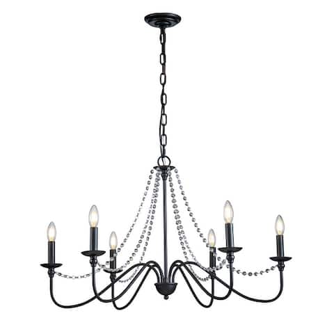 6-Lights Farmhouse Candlestick Chandelier 35 in. Black Ceiling Lights Fixture with Crystal Beads - 35 in.