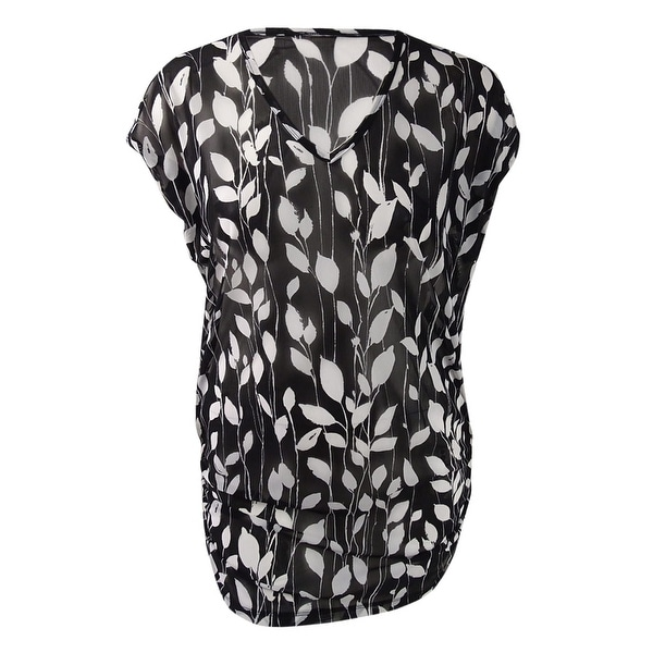 a48d20fe32d Shop Anne Cole Women's Vines Printed Mesh Tunic Cover-Up - Black/White - On  Sale - Free Shipping On Orders Over $45 - Overstock - 21184375
