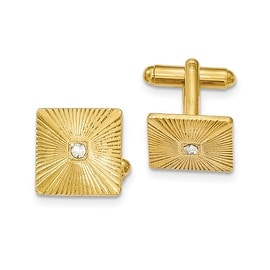 Goldtone Textured White Crystal Square Cuff Links