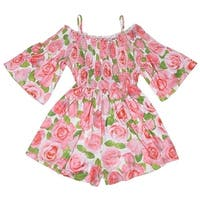 abbea9ee2cf9 Kate Mack Little Girls Pink Rose Flower Allover Print Off-Shoulder Romper