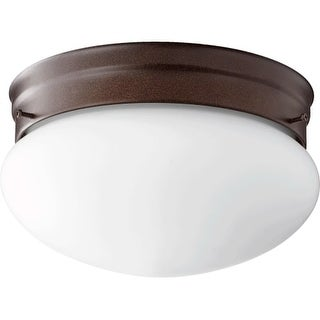 "Quorum International 3023-8 2 Light 10"" Wide Flush Mount Ceiling Fixture with Glass Shade"