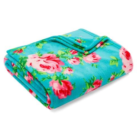 Betsey Johnson Bouquet Day Turquoise Ultra Soft Plush Blanket