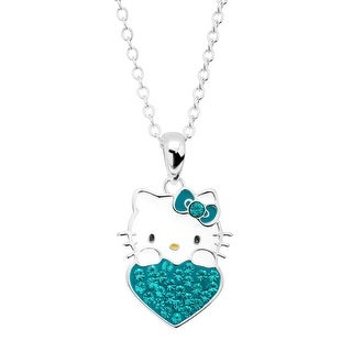 Girl's Hello Kitty December Heart Pendant with Crystals in Sterling Silver-Plated Brass