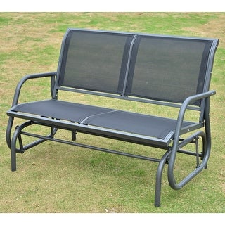 Outsunny Outdoor Black Steel Sling Fabric Double Glider Rocking Bench