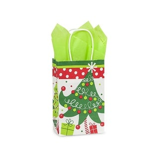 "Pack of 25, Rose Jolly Christmas Trees Bags 5.5 x 3.25 x 8.5"" For Christmas Packaging, 100% Recyclable,"