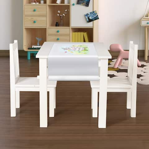Wooden Kids Table and 2 Chair Set, Table with Drawer