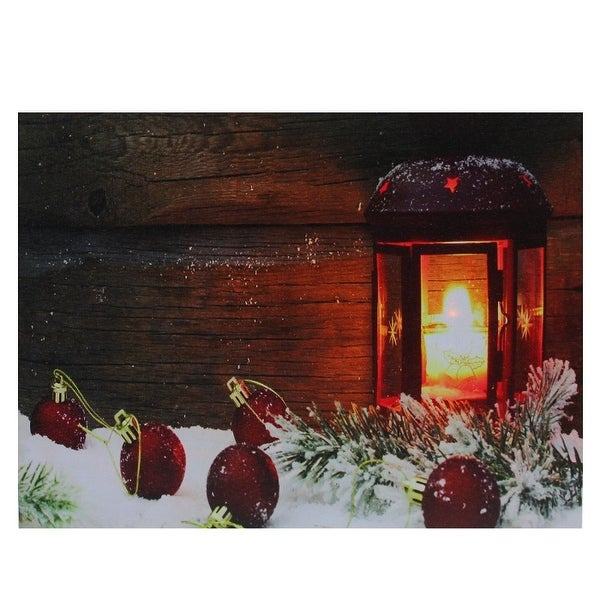 "LED Lighted Candle Lantern in the Wintry Outdoors Christmas Canvas Wall Art 12"" x 15.75"" - N/A"