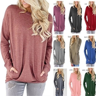 Long Sleeve Round Neck Sweatshirt Pocket Pullover