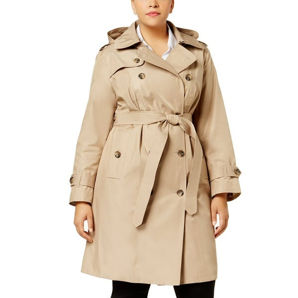 c0a999fe1f562 Shop London Fog Plus Size Double Breasted Hooded Trench Coat British Khaki  - 1X - Free Shipping Today - Overstock - 26951742