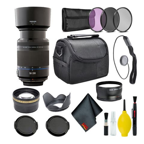 Samsung 50-200mm f/4.0-5.6 Telephoto Zoom Lens NX Mount + Warranty + Cleaning Kit + Case + Accessories Bundle