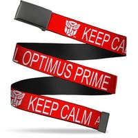 Blank Black  Buckle Autobot Keep Calm Call Optimus Prime Red White Web Belt