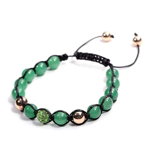 Goldtone Green Aventurine Green Crystal Beads Bracelet Size 6.5 Inch - Bracelet 6.5''