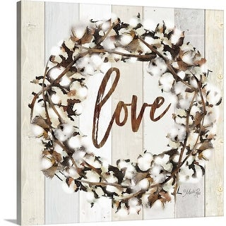 """Love Cotton Wreath"" Canvas Wall Art"